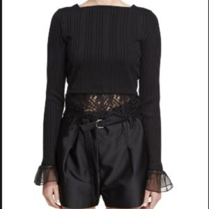 3.1 PHILLIP LIM CROPPED TOP (ribbed with lace) S P